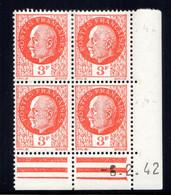 YT-N°: 521 - PÉTAIN (type Bersier), Coin Daté Du 06.02.1942, Galvano A' De A+A', 4e Tirage, NSC/**/MNH - 1940-1949