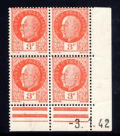 YT-N°: 521 - PÉTAIN (type Bersier), Coin Daté Du 03.01.1942, Galvano A De A+A', 3e Tirage 2e Partie, NSC/**/MNH - 1940-1949