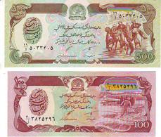 Lot De 2 Billets  AFGHANISTAN - 100 Et 500 Afganis - NEUFS - Afghanistan