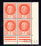 YT-N°: 521 - PÉTAIN (type Bersier), Coin Daté Du 31.12.1941, Galvano A' De A+A', 3e Tirage 2e Partie, NSC/**/MNH - 1940-1949