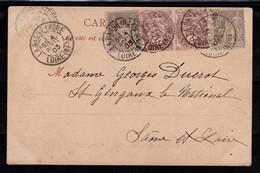Affranchissement Mixte Sage / Blanc Sur Carte Postale De La Basse Indre - 1877-1920: Semi-moderne Periode