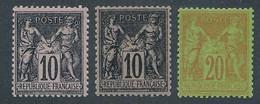 "EA-132: FRANCE: Lot Avec ""SAGE"" N°89*'2 Teintes)-69* (* Infime) - 1876-1898 Sage (Type II)"