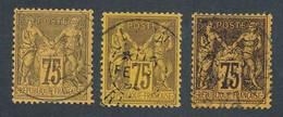 """EA-134: FRANCE: Lot Avec """"SAGE"""" N°99 Obl (3 Teintes) - 1876-1878 Sage (Type I)"""