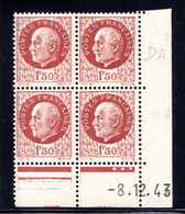 YT-N°: 517 - PÉTAIN (type Bersier), Coin Daté Du 08.12.1943, Galvano DA De DA+DB, 1er Tirage, NSC/**/MNH - 1940-1949