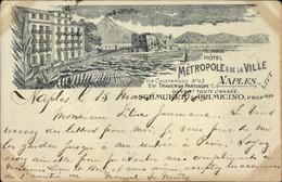 Lithographie Napoli Neapel Campania, Hotel Metropole & De La Ville, Propr. Schmuker & Primicino - Andere
