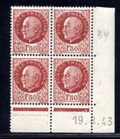 YT-N°: 517 - PÉTAIN (type Bersier), Coin Daté Du 19.08.1943, Galvano BY De BX+BY, 1er Tirage, NSC/**/MNH - 1940-1949