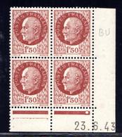 YT-N°: 517 - PÉTAIN (type Bersier), Coin Daté Du 23.06.1943, Galvano BU De BZ+BU, 1er Tirage, NSC/**/MNH - 1940-1949