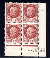 YT-N°: 517 - PÉTAIN (type Bersier), Coin Daté Du 08.05.1943, Galvano BC De BB+BC, 2e Tirage, NSC/**/MNH - 1940-1949