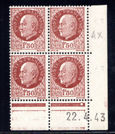 YT-N°: 517 - PÉTAIN (type Bersier), Coin Daté Du 22.04.1943, Galvano AX De AW+AX, 2e Tirage, NSC/**/MNH - 1940-1949
