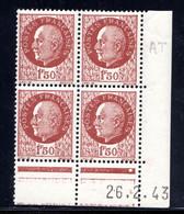 YT-N°: 517 - PÉTAIN (type Bersier), Coin Daté Du 26.02.1943, Galvano AT De AS+AT, 2e Tirage, NSC/**/MNH - 1940-1949