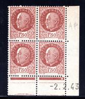 YT-N°: 517 - PÉTAIN (type Bersier), Coin Daté Du 02.02.1943, Galvano AP De AO+AP, 1er Tirage, NSC/**/MNH - 1940-1949