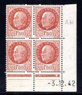 YT-N°: 517 - PÉTAIN (type Bersier), Coin Daté Du 03.12.1942, Galvano AH De AG+AH, 1er Tirage 2e Partie, NSC/**/MNH - 1940-1949