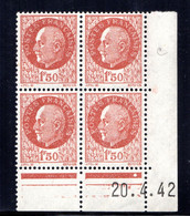 YT-N°: 517 - PÉTAIN (type Bersier), Coin Daté Du 20.04.1942, Galvano C De B+C, 1er Tirage, NSC/**/MNH - 1940-1949