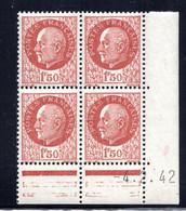 YT-N°: 517 - PÉTAIN (type Bersier), Coin Daté Du 04.02.1942, Galvano A3 De A3+A3, 1er Tirage 1er Partie, NSC/**/MNH - 1940-1949