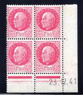 YT-N°: 513 - PÉTAIN (type Bersier), Coin Daté Du 23.12.1941, Galvano A1 De A1+A1, 2e Tirage, NSC/**/MNH - 1940-1949