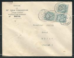 FRANCE  N° 111 Obl. S/Lettre Bloc De 3 Piquage à Cheval - 1900-29 Blanc