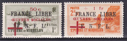 SPM - 1942 FRANCE LIBRE -  YVERT N° 310/311 ** MNH LUXE !! - COTE = 280 EUROS - - Unused Stamps