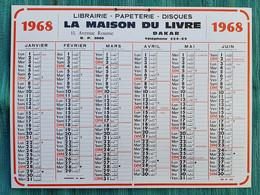 Grand Calendrier De Bureau 1968 La Maison Du Livre Dakar Avenue Roume Sénégal - Big : 1961-70