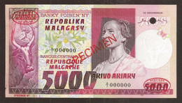 MADAGASCAR. 5000 Francs = 1000 Ariary (1974). Pick 66s. SPECIMEN Nº11. - Madagascar