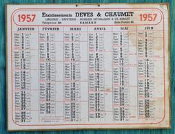 Grand Calendrier De Bureau 1957 Deves & Chaumet Bamako Mali Soudan - Tamaño Grande : 1941-60
