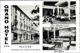 CPA Beziers Hérault, Grand Hotel, 7. Avenue Saint Saens, Son Restaurant, Son Bar - Autres Communes
