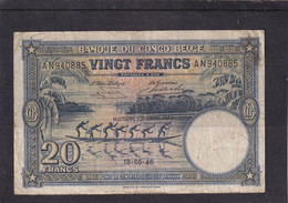 Belgian Congo  Kongo 20fr 1949 Vf - Otros – Africa