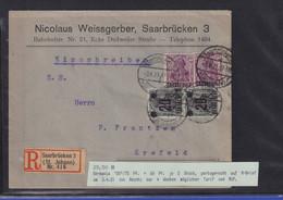 Saargebiet Mi.-Nr. 39 Und 50 Auf R-Brief Vom 3.4.21 Nach Krefeld  - Settori Di Coordinazione