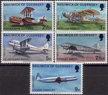 Guernesey Guernsey 1973 Sea Eagle, Douglas DC-3 (DC3), DH Dragon, Vickers Viscount (YT 74, Mi 79, SG 84, Scott 81) - Airplanes