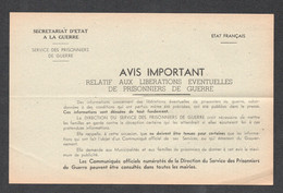 ETAT FRANCAIS SERVICE DES PRISONNIERS DE GUERRE / FAUSSES INFORMATIONS DANS LA PRESSE  C2596 - Dokumente