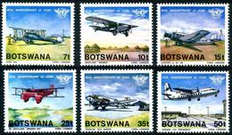 Botswana 1984 OACI ICAO 40 Years Douglas DC-3 (DC 3), Avro 504, Ju52-3m, Fokker Friendship (YT 497, Mi 345, SG 562) - Airplanes