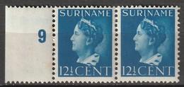 Suriname 1946 Wilhelmina 12.5ct.  Randstuk. Paar. NVPH 244 MNH/**/Postfrisch - Surinam ... - 1975