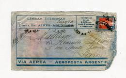 !!! LETTRE DE BUENOS AIRES POUR PARIS, RESCAPEE DE L'ACCIDENT DE SARITA DU 28/2/1932, GRIFFE NOIRE AU DOS - Crash Post