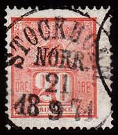 1862 - 1869. Lying Lion. 20 öre Vermilion. LUKSUS STOCKHOLM NORR 21 9 1871. (Michel 16a) - JF100922 - Used Stamps