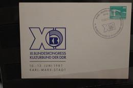 DDR 1987, Ganzsache Bundeskongress Kulturbund - Karl-Marx-Stadt - Privatpostkarten - Gebraucht