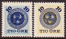 1889. Surcharge On Circle Type 10 ÖRE On 12 öre And 24 öre. Complete Set (2. V.). (Michel 39-40) - JF102017 - Unused Stamps