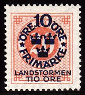 1916. Landstorm I. 10+Tio Öre On 20 ö. Red Orange Wmk Wavy Lines And Letters. (Michel 92 (Facit 111cz)) - JF102033 - Unused Stamps
