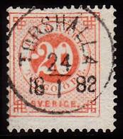 1877. Circle Type. Perf. 13. 20 øre Vermilion. TORSHALLA 24 1 1882. (Michel 22Ba) - JF103222 - Used Stamps