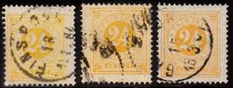 1877. Circle Type. Perf. 13. 24 øre Orange. 3 Shades. (Michel 23B) - JF103226 - Used Stamps