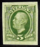1891. Oscar II. 5 öre Yellow Green. Imperforated. (Michel 41b U) - JF103433 - Unused Stamps