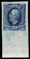 1891-1904. Oscar II. 20 öre Blue. Imperforated. (Michel 45b U) - JF103434 - Unused Stamps