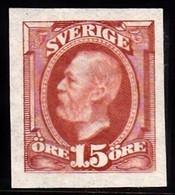 1891-1904. Oscar II. 15 öre Red Brown. Imperforated. (Michel 44 U) - JF103437 - Unused Stamps