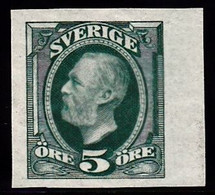 1891. Oscar II. 5 öre Blue Green. Imperforated. (Michel 41a U) - JF103438 - Unused Stamps