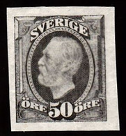 1891-1904. Oscar II. 50 öre Olive Gray. Imperforated. (Michel 48c U) - JF103441 - Unused Stamps