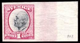 1891-1904. Oscar II. 1 Kr. Carmine & Slate. Imperforated. (Michel 49a U) - JF103442 - Unused Stamps