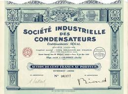 Titre Ancien - Société Industrielle Des Condensateurs - Etablissements Ségal - Titre De 1930 - Déco - - Industry