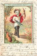 Conte CPA FANTAISIE Illustration + Timbre Cachet 1900 Der Gestiefelte Kater Le Chat Botté Chasseur Fusil Lapin - Vertellingen, Fabels & Legenden