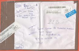 CIPRO - CYPRUS - 2020 - 9,90€ - Registered - Big Fragment - Viaggiata Da Geroskipou Per Cesena, Italy - Cartas
