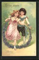 Präge-AK Kinderpaar Mit Blumengirlande, Neujahrsgruss - Neujahr
