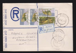 South West Africa, 91 Cents, Registered > S. Africa, RUNDU 2 II  88 , MARSHALLTOWN Arrival - South West Africa (1923-1990)