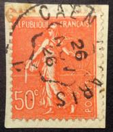 199°2° Ambulant Rapide Caen à Paris «D» Semeuse 50c Rouge Oblitéré 26/11/1926 - 1921-1960: Periodo Moderno